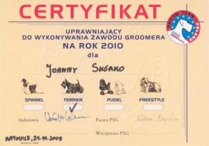 certyfikat Polskie Stowarzyszenie Groomerow